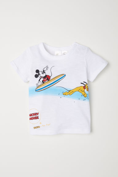 T-shirt with a print motif - White/Mickey Mouse - Kids | H&M CN