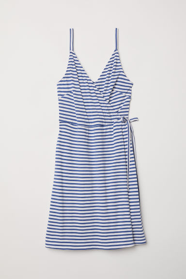 Modal-blend wrap dress - Natural white/Blue striped - Ladies | H&M GB