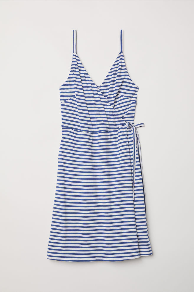 f24b0b93a1 Modal-blend wrap dress - Natural white Blue striped - Ladies