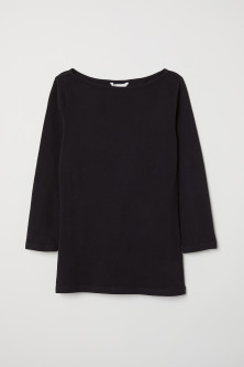 Boat-necked jersey top