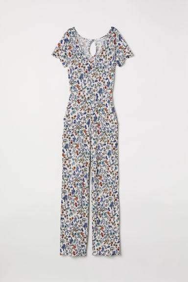 Jersey jumpsuit - Natural white/Floral - Ladies | H&M