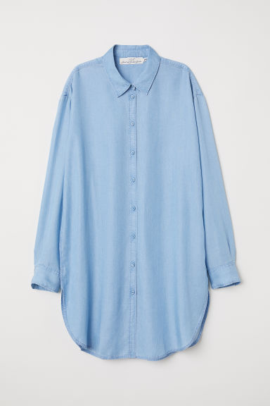 Long lyocell shirt - Light blue -  | H&M CN
