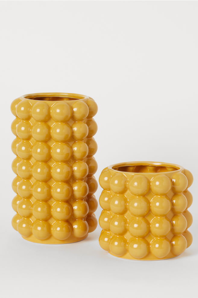 Tall Vase with Bubbles Mustard yellow Home All
