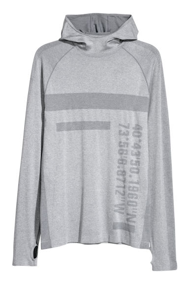 Seamless hooded running top - Grey - Men | H&M