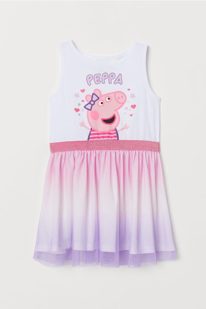 496c2c3578f80a Tulen jurk met geprint motief - Wit Peppa Big - KINDEREN