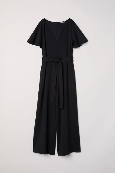 Jumpsuit with a tie belt - Black -  | H&M