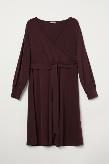 H&M+ Crêpe wrap dress - Burgundy - Ladies | H&M CN