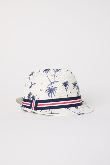 Straw hat - Natural white/Patterned -  | H&M