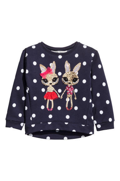 Sweater met pailletten - Donkerblauw -  | H&M BE