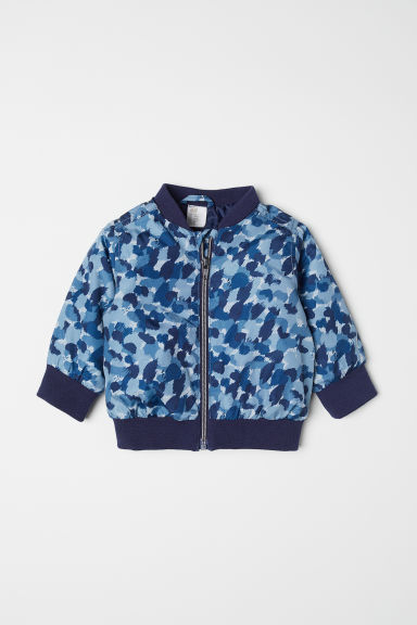 Padded bomber jacket - Dark blue/Patterned - Kids | H&M