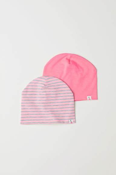 2-pack jersey hats - Light pink/Striped -  | H&M