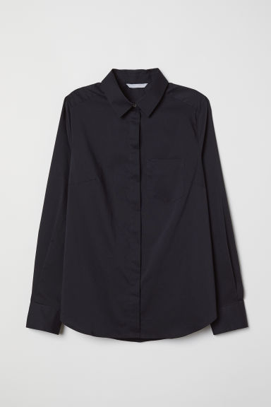 Fitted shirt - Black - Ladies | H&M