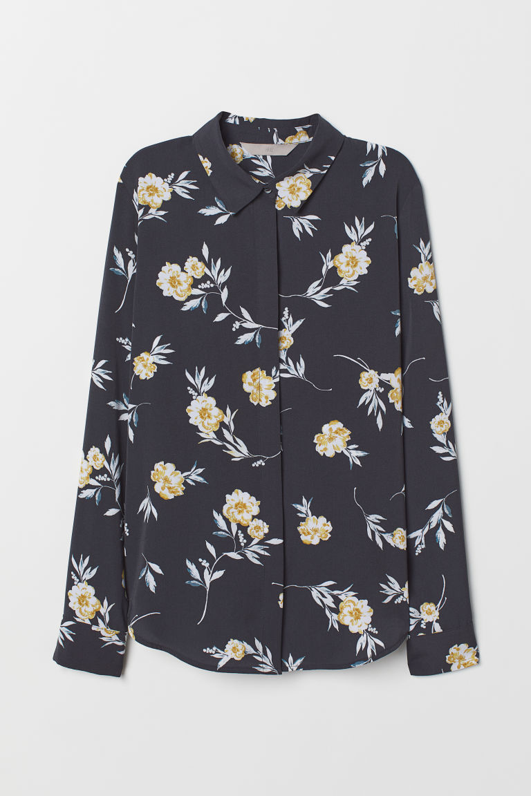 Long-sleeved blouse - Dark grey/Floral - Ladies | H&M