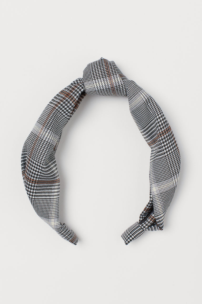 Alice band with a knot - Grey/Small-checked - Ladies | H&M CN