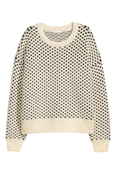 Knitted jumper - White/Black - Ladies | H&M