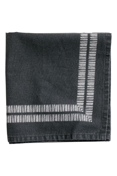 Patterned cotton napkin - Anthracite grey/White - Home All | H&M CN