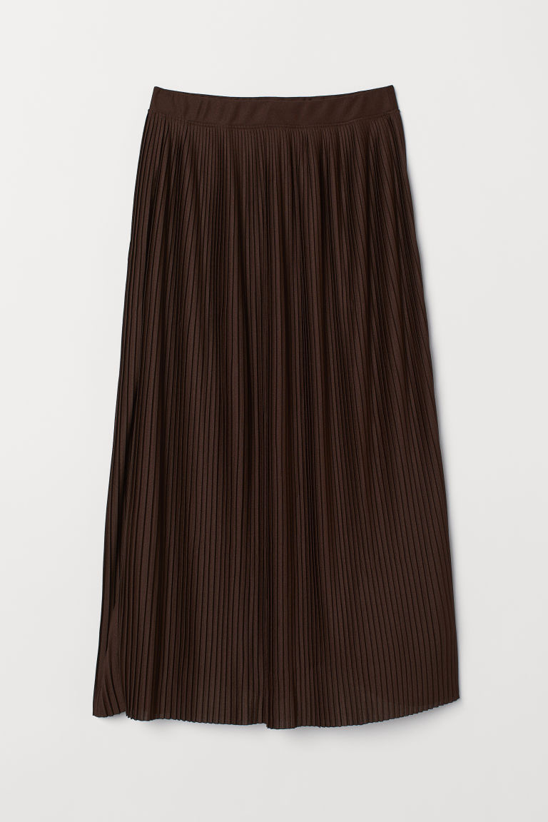 Pleated skirt - Dark brown - Ladies | H&M