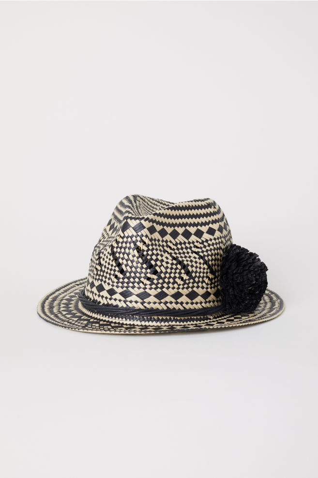 ce8f7f384e7 Straw Hat with Pompom - Natural patterned - Ladies