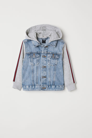 Hooded denim jacket - Light denim blue/Light grey -  | H&M