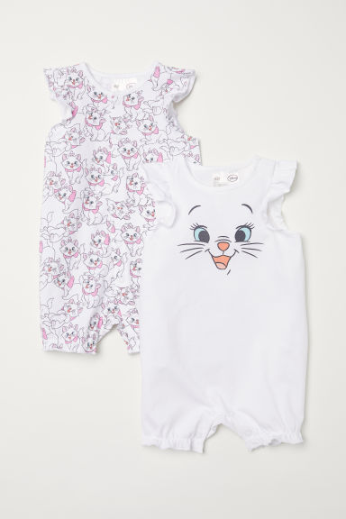 2-pack all-in-one pyjamas - White/Aristocats - Kids | H&M