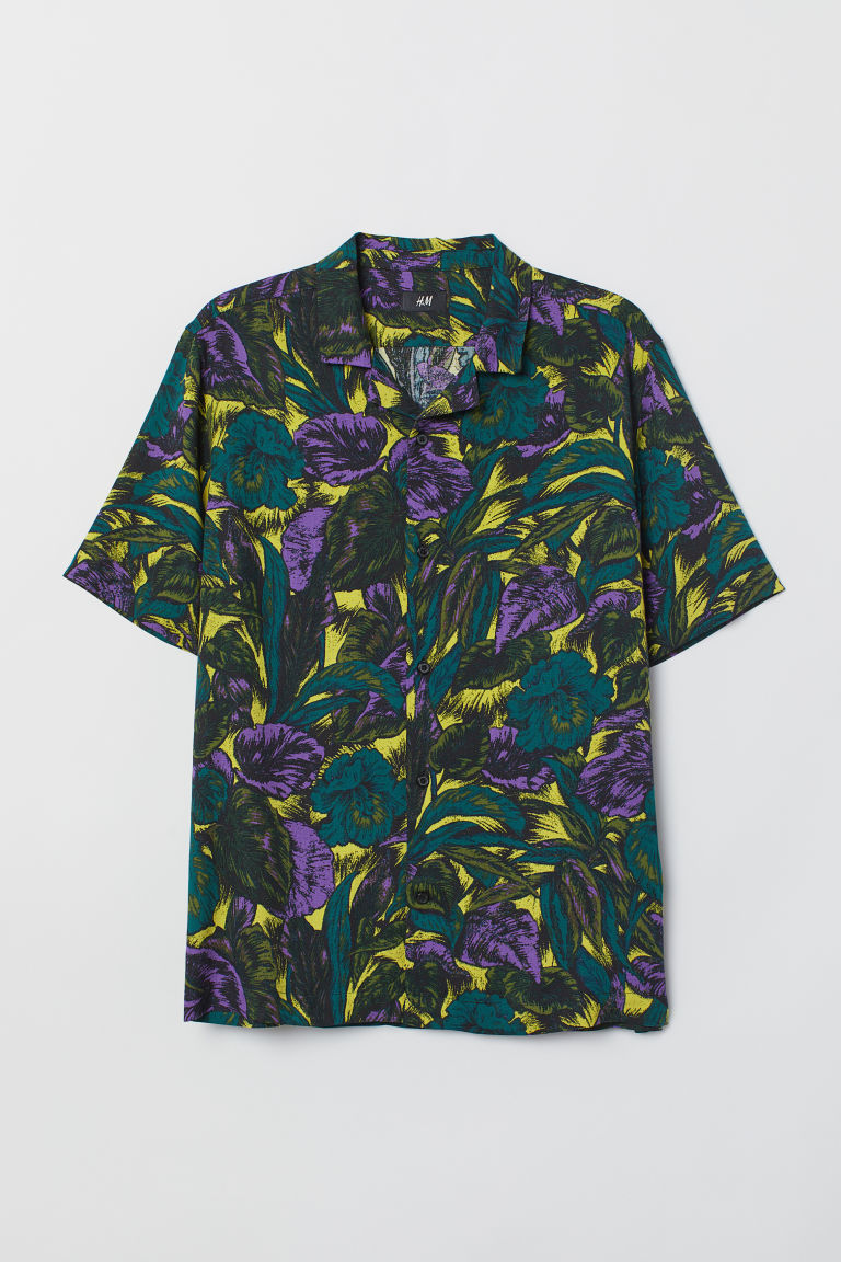 Patterned resort shirt - Dark green/Patterned - Men | H&M CN