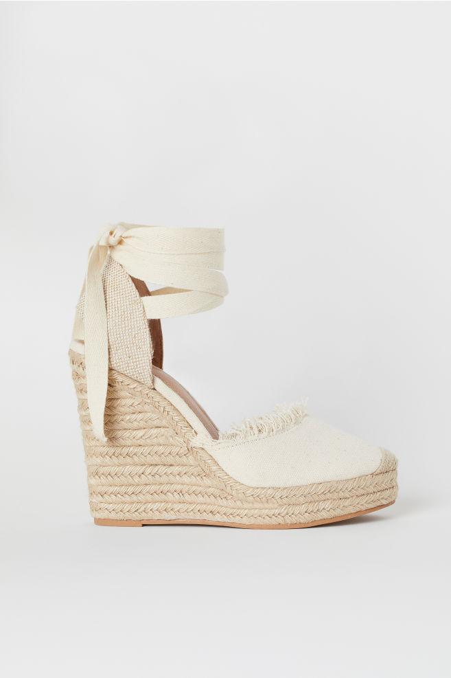 20946a1afa Wedge-heel Platform Sandals - Light beige - Ladies | H&M ...