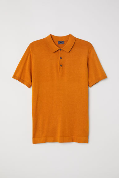 Silk-blend polo shirt - Ochre - Men | H&M