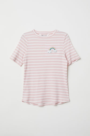 Ribbed T-shirt - Light pink/Striped - Kids | H&M