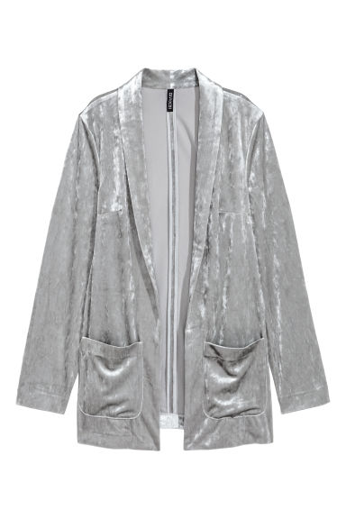 Crushed velvet jacket - Light grey -  | H&M