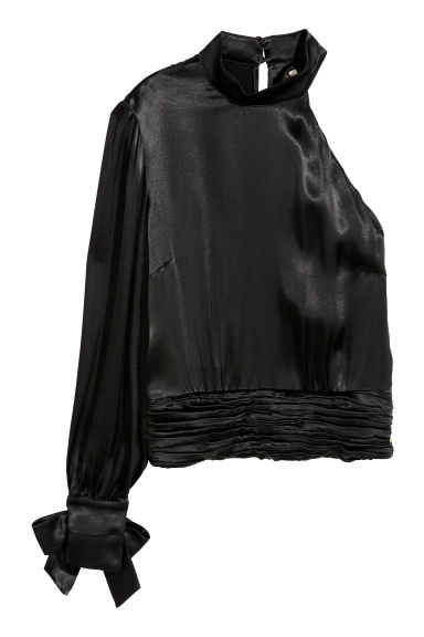 Satin top - Black - Ladies | H&M