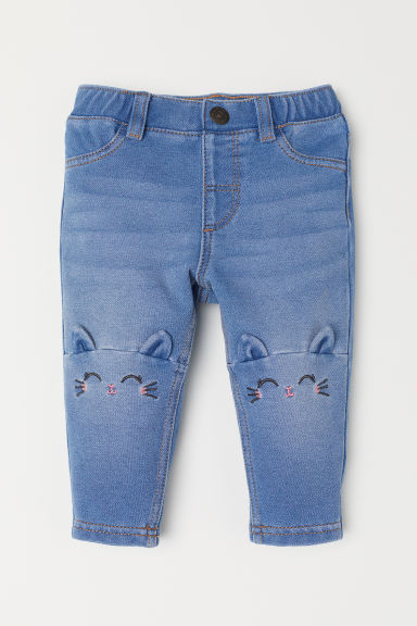 Leggings with motifs - Light denim blue/Cat - Kids | H&M