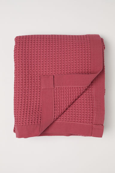 Waffled cotton bedspread - Pink - Home All | H&M CN