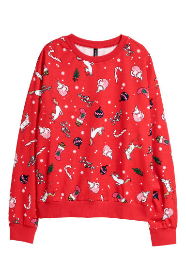 Printed sweatshirt - Red/Christmas - Ladies | H&M