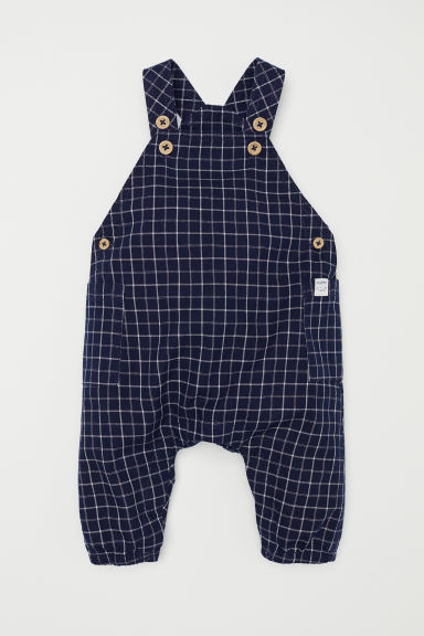 Patterned dungarees - Dark blue/Checked -  | H&M CN