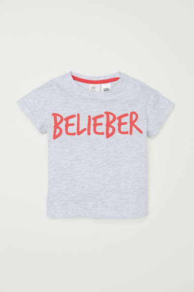 Printed T-shirt - Light grey/Justin Bieber - Kids | H&M