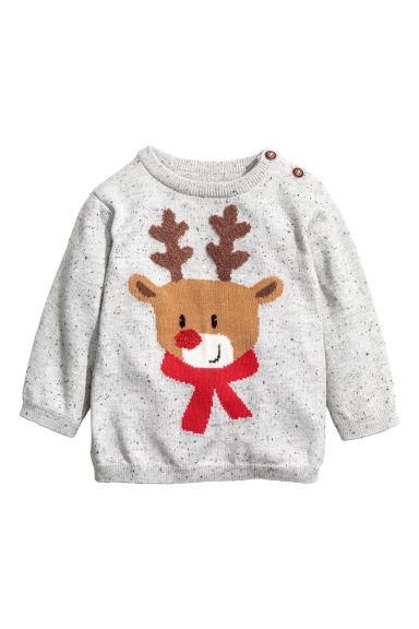 Fine-knit cotton jumper - Grey marl/Reindeer - Kids | H&M GB