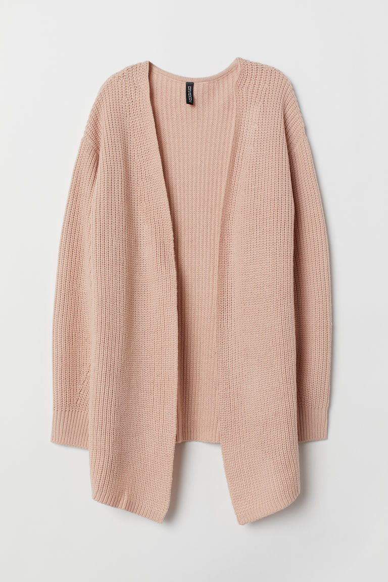Rib-knit cardigan - Powder pink -  | H&M CN