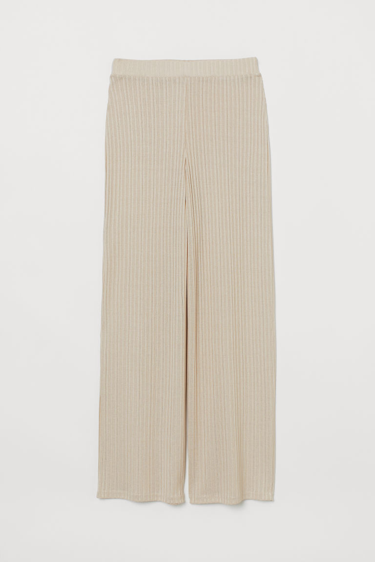 Ribbed trousers - Light beige - Ladies | H&M GB