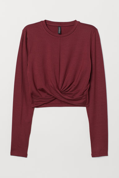 Short knot-detail jersey top - Dark red -  | H&M