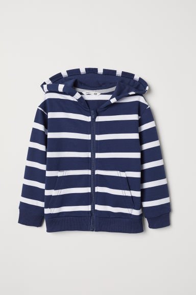 Hooded jacket - Blue/White striped - Kids | H&M