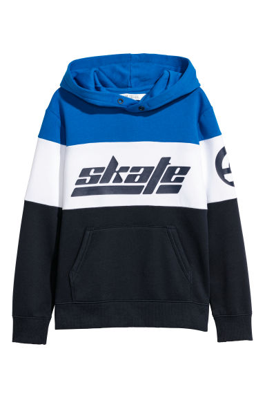 Printed hooded top - Bright blue/Block coloured -  | H&M