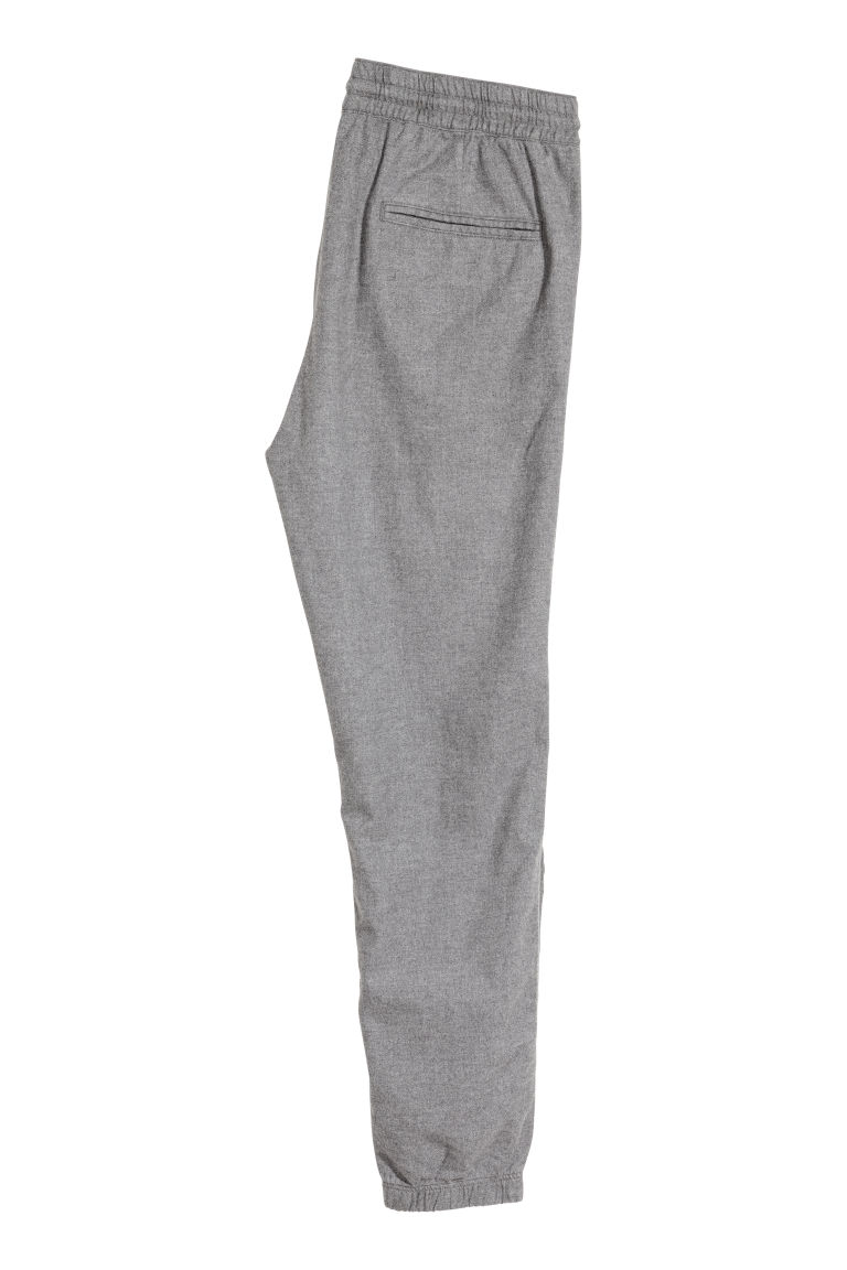 Cotton flannel joggers - Grey marl - Men | H&M GB