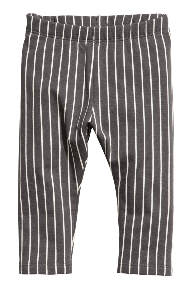Sweatshirt leggings - Dark grey/White striped - Kids | H&M