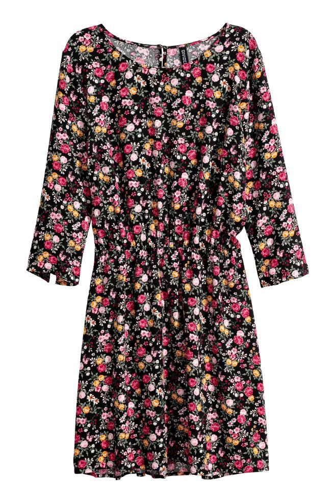 bd3d69ab181 Kurzes Kleid - Schwarz Blumen -