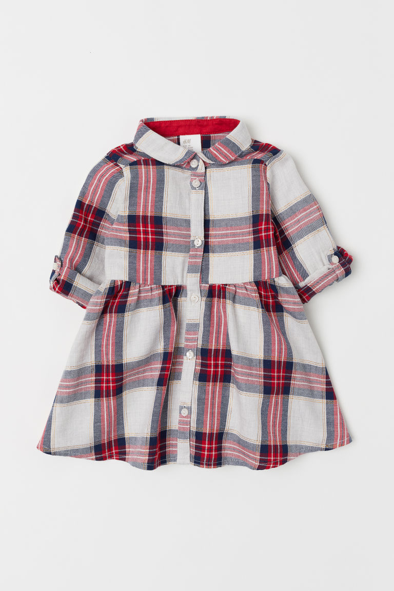 Checked shirt dress - Red/Beige checked -  | H&M