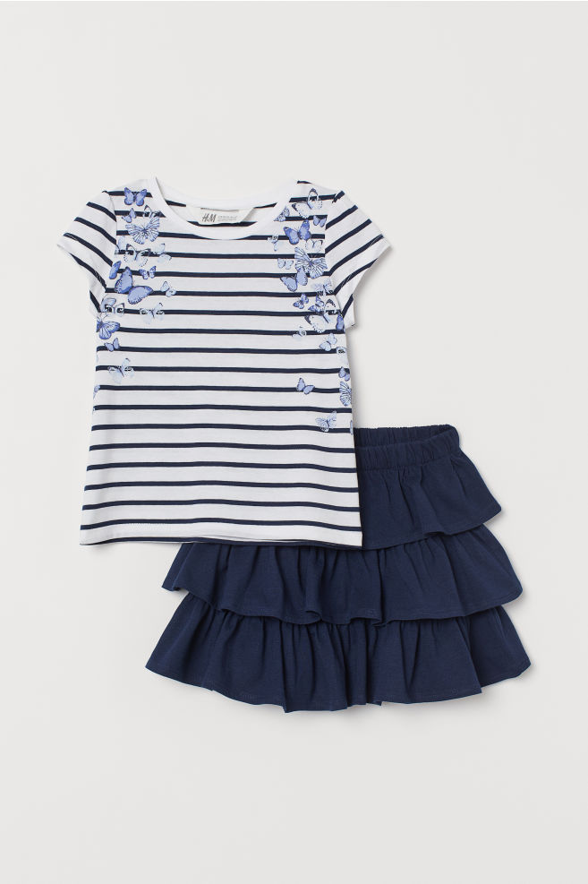 a5656281db ... Top and tiered skirt - Dark blue/White striped - Kids   H&M ...
