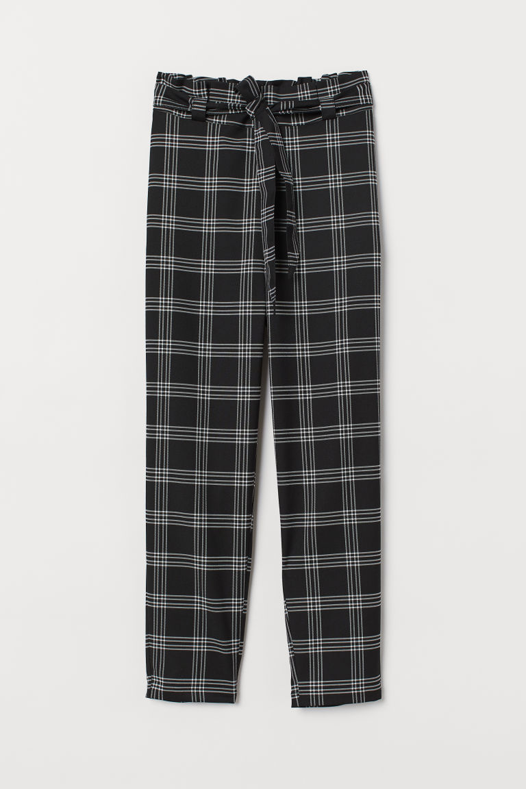 Pull-on cigarette trousers - Black/Checked -  | H&M GB