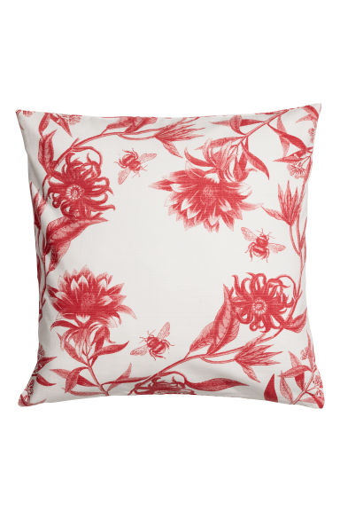 Patterned cushion cover - Natural white/Light red -  | H&M CN