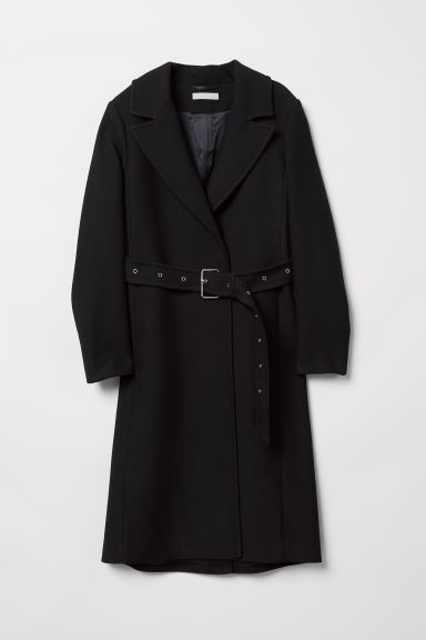 Wool-blend coat - Black - Ladies | H&M CN