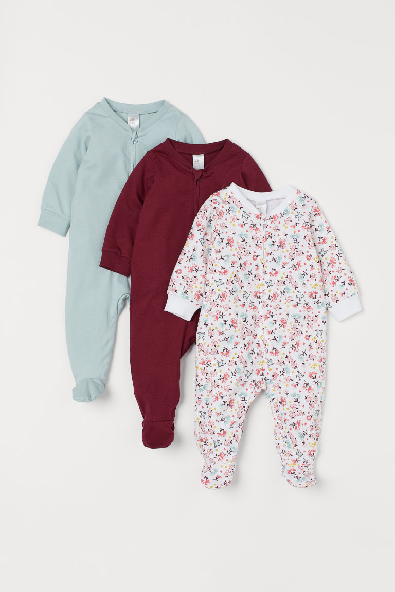 3-pack all-in-one pyjamas - White/Floral - Kids | H&M